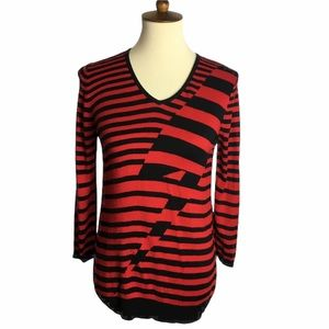 Cable & Gauge Red and Black Striped Sweater Sz M